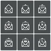 Mail icons. Mail search symbol. Print. Spam.