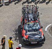 Bmc Team Technical Car In Pyrenees Mountains