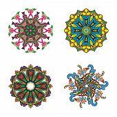 Set of four flower circle mandalas