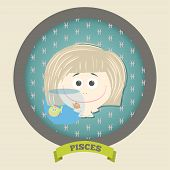 Zodiac signs collection.Cute horoscope - PISCES.