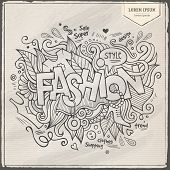 Fashion hand lettering and doodles elements