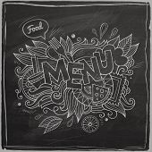 Menu hand lettering On Chalkboard