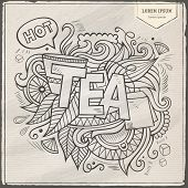 Tea hand lettering and doodles elements