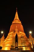 Phra Sri Ratana Chedi Coverd With Foil Gold In The Inner Grand Palace At The Night