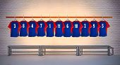Blue and Red Football Shirts 3-5
