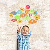 Kid Doing Victory Gesture Over Textured Background
