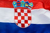Croatia Flag In The Wind In Sunlight