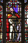 PARIS, FRANCE - NOV 11, 2012: King David, stained glass from Church of St-Germain-l'Auxerr ois found