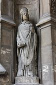 PARIS, FRANCE - NOV 11, 2012: Statue of Saint, Church of St-Germain-l'Auxerr ois founded in the 7th