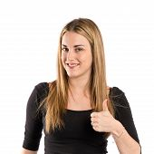 Blonde Girl Making Ok Sign Over White Background
