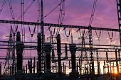 pic of substation  - Electrical substation silhouette on the dramatic sunset background