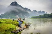 image of fishermen  - Cormorant fisherman and his birds on the Li River in Yangshuo - JPG