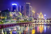 Guiyang, China cityscape on the Nanming River.