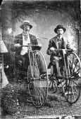 Tintype Photo Bone Shaker Bicycles 1880S