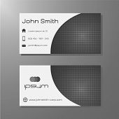 Business card template - black & white with square pattern
