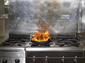 picture of fire insurance  - Frying pan in working kitchen on Fire - JPG