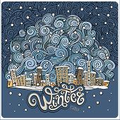 Vector cartoon winter fairytale town