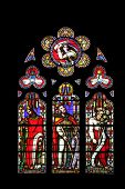 PARIS, FRANCE - NOV 11, 2012: King Solomon, David and Jesse, stained glass from Church of St-Germain