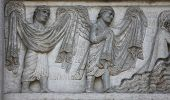 PARMA, ITALY - MAY 01, 2014: Archangels Raphael and Gabriel on the baptistery from Benedetto Antelam