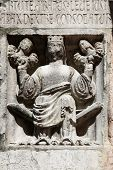 PARMA,ITALY-MAY 01, 2014:Faith(holding Justice and Peace)relief at the baptistery from Benedetto Ant