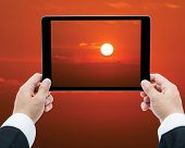 Businessman Hands Tablet Taking Pictures Sunrise Big Sun