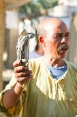 Man Holding Two Desert Monitors  In Tozeur Zoo