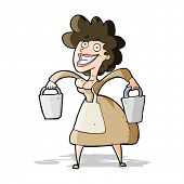 stock photo of milkmaid  - cartoon milkmaid carrying buckets - JPG