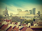 Vintage Picture Of Warsaw (warszawa) Downtown, Poland.