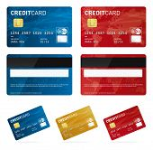 stock photo of borrower  - a set of vector credit cards isolated on white - JPG