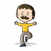 cartoon dancing man with mustache