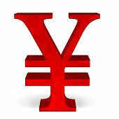 Red Yen Or Yuan Sign On White Front View