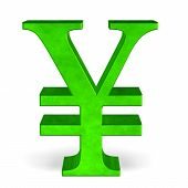 Green Yen Or Yuan Sign On White Front View