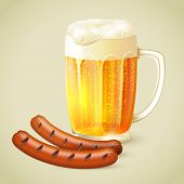 Light beer and grilled sausage emblem