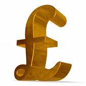 Golden Pound Sterling Sign On White