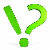 3D Green Combined Exclamation And Question Mark