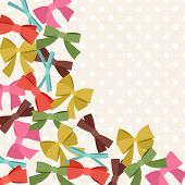Background with abstract various bows and ribbons.