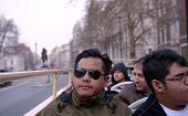 Asian tourist male enjoying London sightseeing
