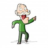 cartoon frightened old man