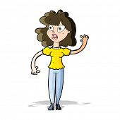 cartoon worried woman waving