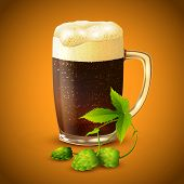 Dark beer and hop background