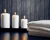 Spa Massage Border Background With Towel Stacked And Candles