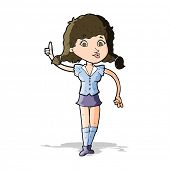 cartoon pretty woman with idea