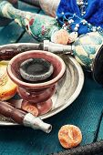 stock photo of shisha  - set foto composition with shisha and accessories - JPG