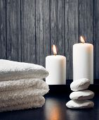 Spa Massage Border Background With Towel Stacked.candles And Stone