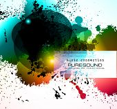 PArty Club Flyer for Music event with Explosion of colors. Includes a lot of music themes elements a