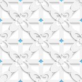 Diagonal White Big Flowers Layered With Blue Pattern
