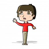 cartoon unhappy boy waving