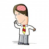 cartoon businessman with huge brain