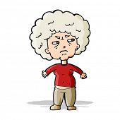 cartoon annoyed old woman