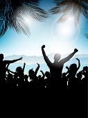 Silhouette of a party crowd on a summer background